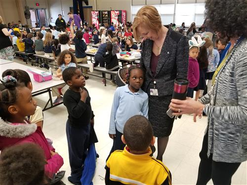 Dr. Hanlin talks with students at Beaver Run Elementary