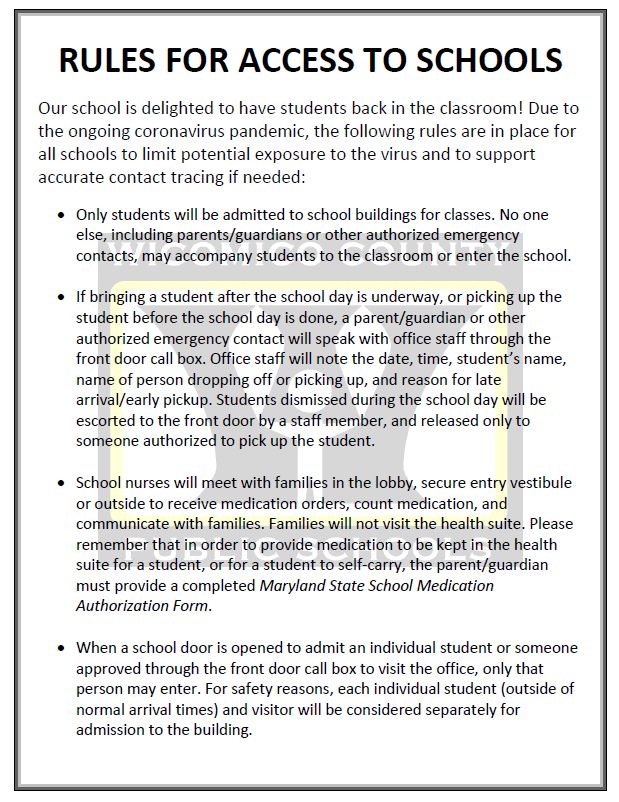 Rules for Access to Schools