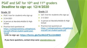 SAT & PSAT SIGNUP NOW AVAILABLE