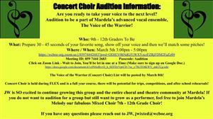Concert Choir auditions MArch 5