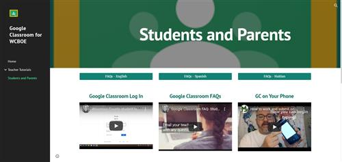 Google Classroom Tutorial Page