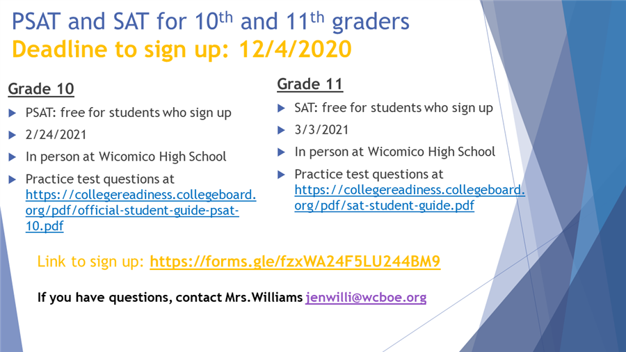 PSAT and SAT Sign up information