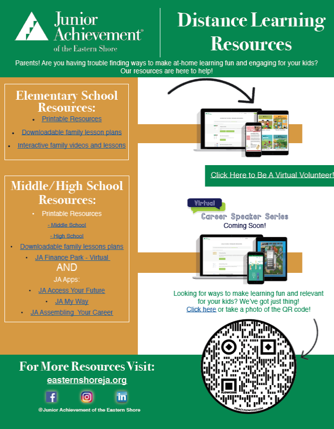 Junior Achievement Distance Learning Resources Flyer