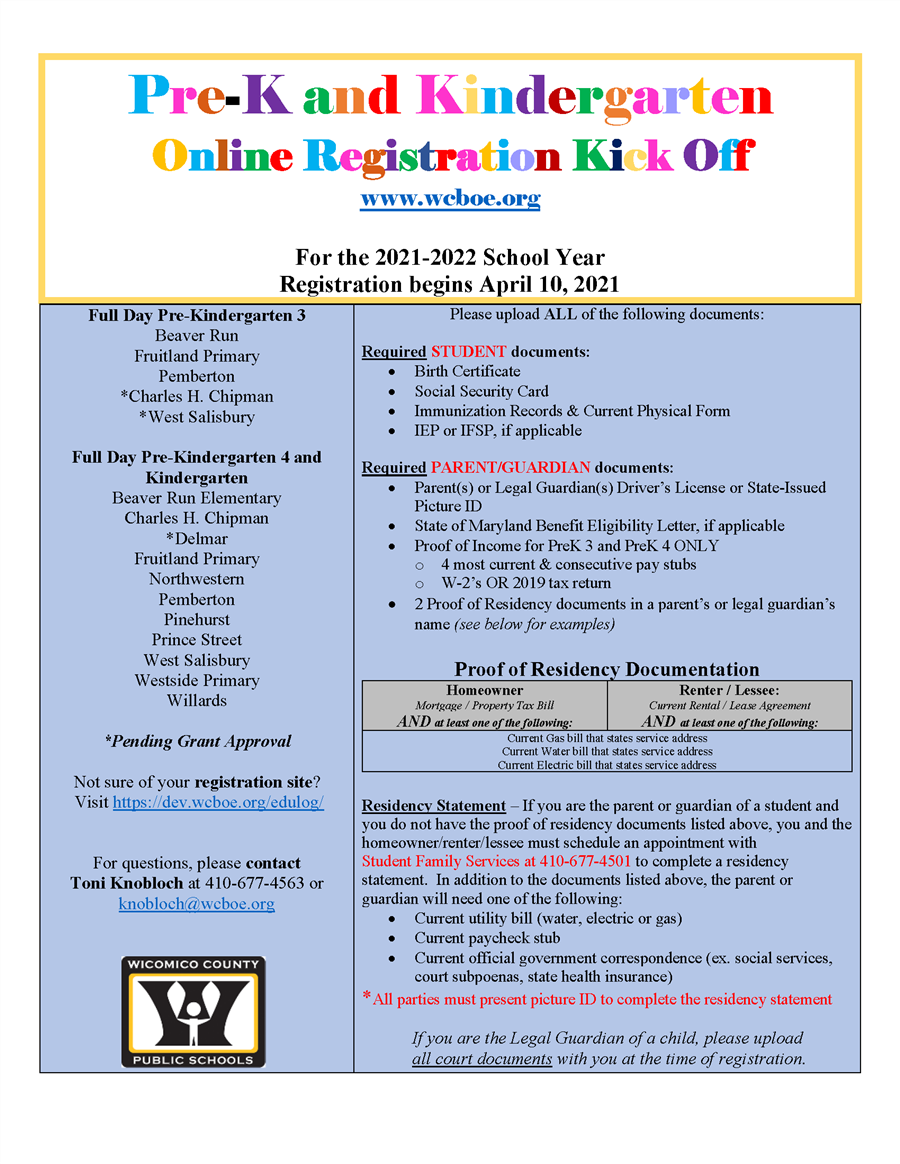 Prekindergarten and Kindergarten Registration Open