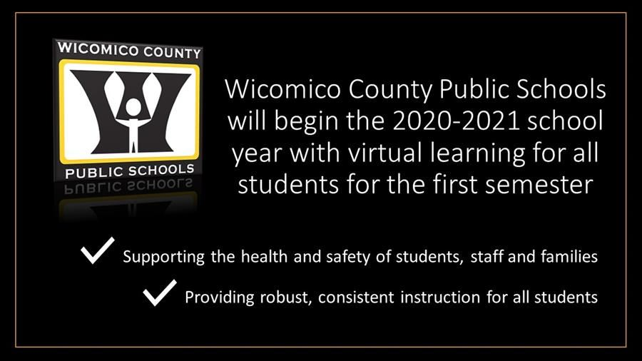 Graphic about virtual learning plan for fall in Wicomico Schools
