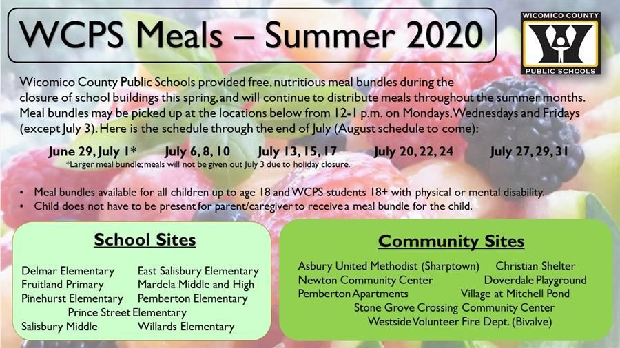 Meal Bundle Distribution Dates and Locations through July